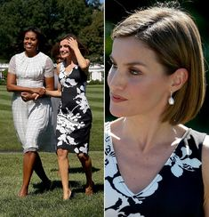 First Lady Michelle Obama and Queen Letizia on September 15, 2015 at the grounds of the White House.