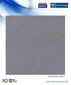 "Millennium Tiles 800x800mm (32x32) Vitrified Matt Porcelain XL Tiles Series ""Siberian Gray"""