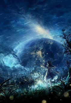 An image that focuses more on the scenery and landscape itself, rather than on the character. Zerochan has Scenery anime images, and many more in its gallery. Art Anime, Anime Kunst, Anime Artwork, Manga Art, Fantasy Landscape, Landscape Art, Fantasy Kunst, Fantasy Art, Anime Body