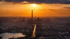 New free stock photo of city dawn sunset via Pexels https://www.pexels.com/photo/architecture-buildings-city-cityscape-366283/