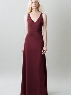 942a9adf667 V-neck bridesmaids or evening wear dress by Jenny Yoo. Elegant and timeless  bridesmaids dress. Burgundy dress with v neck and supportive straps.
