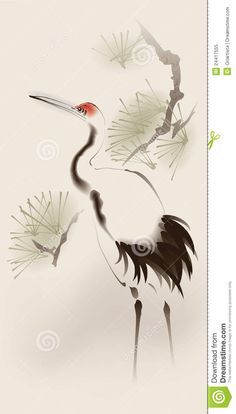 Oriental Style Painting, Red-crowned Crane Royalty Free Stock ...