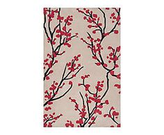 Tapis RUBY polyester, crème et rouge - 153*232
