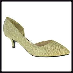 f4822f624b32f Frau Damen Schimmern Kitten Heels Seitenschnitt Spitz Abend Hochzeit Party  Braut Prom Gold Sandalen Schuhe Größe 38 - Damen pumps ( Partner-Link)