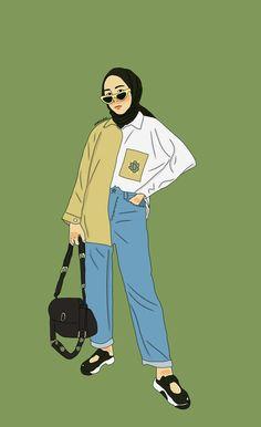 @strngrrr 😎🎨 #illustration #fashionhijab Cute Girl Wallpaper, Cartoon Wallpaper, Cartoon Kunst, Cartoon Art, Fashion Design Drawings, Fashion Sketches, Fashion Illustrations, Cover Wattpad, Hijab Drawing