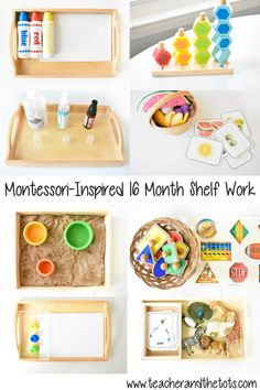 Here's a look at some ideas for Montessori-inspired shelf activities and toys from months. toys Montessori Shelf Work at 16 Months Montessori Toddler Rooms, Diy Montessori Toys, Toddler Learning Activities, Montessori Materials, Infant Activities, Toddler Toys, 15 Month Old Activities, Learning Games, Kids Learning