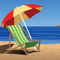 Beach Palm Tree Clip Art   Clip Art of A Colorful Chair on the Beach