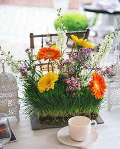 Grass gerbera daisy centerpieces