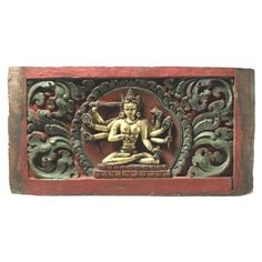 Early Tibetan wood carving with original polychrome