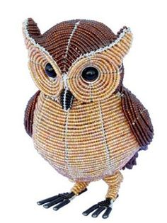 Beadworx Glass Beads Beaded Wire Horned Owl Intricate Wrapped Metal Bird | eBay