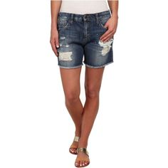 Joe's Jeans Boyfriend Cut Off Shorts in Rika Women's Shorts, Blue ($70) ❤ liked on Polyvore featuring shorts, blue, sport shorts, denim shorts, low rise denim shorts, leather shorts and boyfriend jean shorts