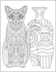 Free Cat Adult Coloring Page