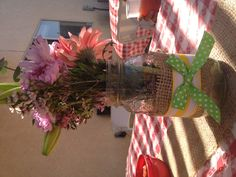 Centerpiece Flowers & Jars by: Melody Events