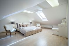 An attic bedroom with light hardwood floors and lots of natural light. What do you think of the recessed ceiling?