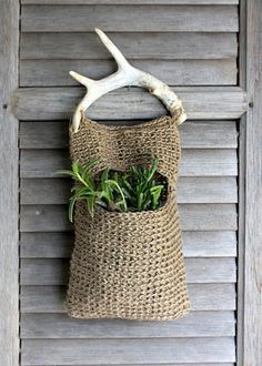 Jute and Antler Plant Hanger-This bag is actually crocheted but I would knit one instead. Since I can't knit or crotchet a burlap pouch might work. Sisal, Jute Bags, Hessian, Plant Hanger, Fiber Art, Crochet Projects, Creations, Crafty, Knitting