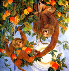 monkey detail interior - Szukaj w Google Mosaic Animals, Cross Paintings, Cross Stitch Kits, Embroidery Patterns, Monkey, Sewing Crafts, Arts And Crafts, Gifts, Illustrations