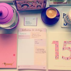 Love setting up my desk for a days work as seen in my #bestthingsinlife #blog post... http://www.bykatieandjane.com/2015/01/the-best-things-in-life-in-january.html