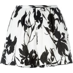 Thakoon Floral Print Shorts (1,740 PEN) ❤ liked on Polyvore featuring shorts, skirts, bottoms, short, black, short shorts, thakoon, flower print shorts, floral print shorts and floral printed shorts