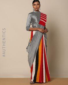 Indie Picks Ikat Cotton Saree with Multistripe Pallu Trendy Sarees, Stylish Sarees, Fancy Sarees, Saree Wearing Styles, Saree Styles, Saree Blouse Neck Designs, Blouse Patterns, Latest Indian Fashion Trends, Saree Trends