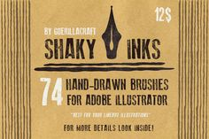 Shaky inks - brushes for Illustrator by Guerillacraft on Creative Market