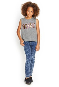 Acid Wash Skinny Jeans (Kids) #F21Girls #Denim love the shirt