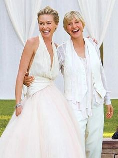 Ellen DeGeneres and Portia De Rossi. Ellen DeGeneres is extremely successful and is married to another woman. She is a great role model for all women who may be afraid to come out with the fact that they are not heterosexual. Ellen Degeneres Wedding, Ellen And Portia Wedding, Ellen Degeneres And Portia, Portia De Rossi, Celebrity Wedding Dresses, Celebrity Weddings, Wedding Suits, Wedding Attire, The Bride
