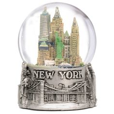 New York City Silver Lined Snow Globe 65mm NYC Souvenir Color Skyline Snow Globes 3.5' -- For more information, visit now : Home Decor Snow Globes