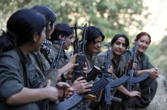 A group of female PJAK guerrillas in the Qandil mountains, Kurdistan, 2013. The Kurds have become a major focal point in the war against Isis.