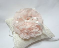 Wedding ring pillow light pink bloom on ivory lace ring by mirino, $35.00