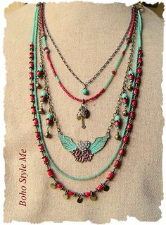 Bohemian Necklace Junk Gypsy Cowgirl Winged Heart Pendant
