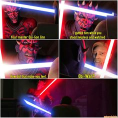 Upon which time Obi-Wan becomes almost senseless with rage and attacks him in a very recklessly, un-Obi-Wan like fashion. Darth Maul Clone Wars, Star Wars Clone Wars, Star Wars Film, Star Wars Rebels, Star Wars Quotes, High Ground, Jedi Knight, The Force Is Strong, Bad Feeling