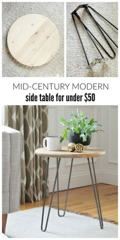Make this mid-century modern side table for under $50. Super easy DIY table. Looks great with any style from farmhouse to industrial.