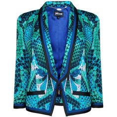 JUST CAVALLI Scale Print Shoulder Detail Jacket ($810) ❤ liked on Polyvore