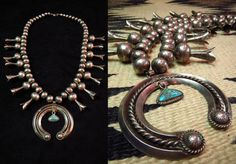 INDIAN JEWELRY LEATHER ARTS&CRAFTS Tah'bah TRADERS / Antique Squash Blossom Naja Necklace w/GemGrade TQ