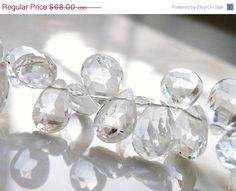 42% Off Topaz Gemstone Briolette Clear White by somsstudiosupplies