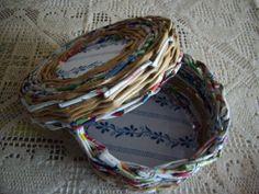 Saját munka/my own works_kerek tárolódoboz. Papír fonás. Paper weaving