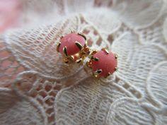 Vintage 10k Coral Pierced Post Earrings