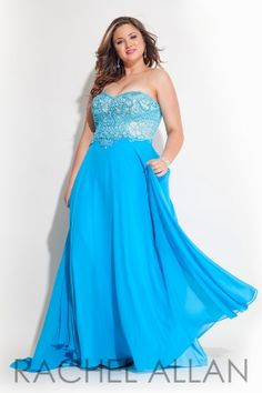 Strapless chiffon gown with heavily beaded bodice. Order today by calling Everything for Pageants at 1-815-782-8877 and ask for our current promotions.