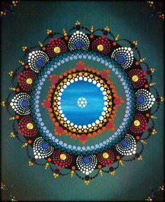 Mandala for balancing 5th chakra - Original painting by Kirsty Russell