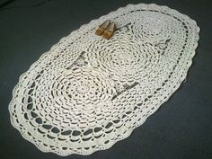 Huge crocheted rug Flower and spider web crocheted rug - Made to order in any color at your choice