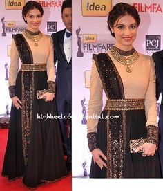 filmfare awards 2014-divya khosla kumar-sabyasachi: Great idea to jazz up a basic outfit - add a blingy dupatta?