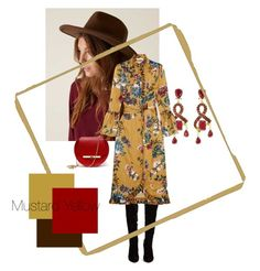 Mustard Yellow by karen-poonoosamy on Polyvore featuring polyvore, fashion, style, Erdem, Christian Louboutin, Angela Valentine Handbags, Oscar de la Renta, Adora and clothing