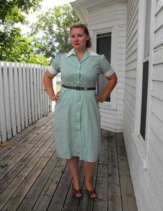 Vintage 50er Jahre grün gestreiften Kleid Baumwolle von soulrust