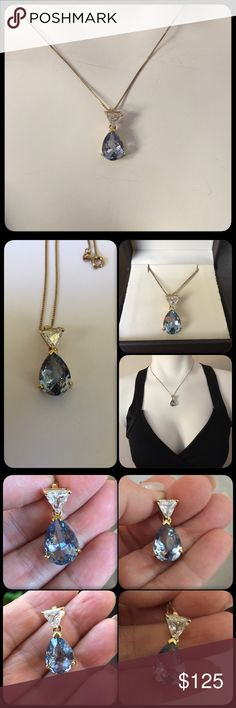 """Pear Blue Topaz and Trillion White Topaz Necklace ▪️This is amazing! It sparkles and looks like a Sapphire! It's a large pear shaped genuine Blue Topaz gemstone that measures 15mm long and 9mm wide. It is hallmarked 925 and is a gold tone color. It has a Designer hallmark as well. It lays beautifully on a gold tone Sterling silver box chain that is 18"""" in length▪️This is in new condition, you will love it Vintage Jewelry Necklaces"""