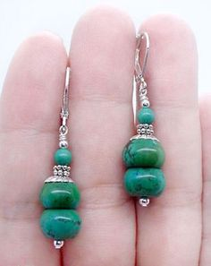 Handmade Natural Green Turquoise Gemstone Beaded Leverback Dangle Earrings