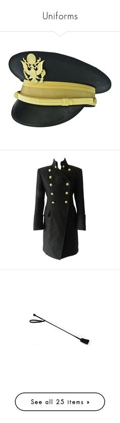 """""""Uniforms"""" by wonderland-junkie ❤ liked on Polyvore featuring accessories, hats, army cap, military style cap, military hats, visor cap, military style hats, outerwear, coats and jackets"""
