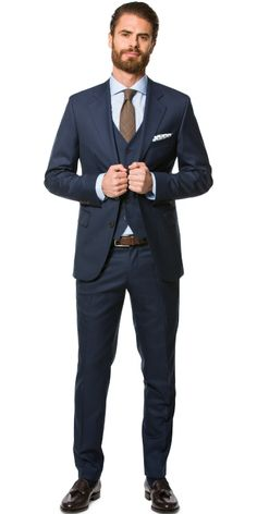 Premium sharkskin navy blue three piece - Mond of Copenhagen