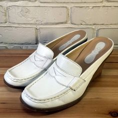 Glacee Women's Shoes ~ White Leather Mule Wedge Penny Loafer Heels ~ US 8 M #Glace #Mules