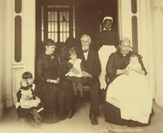 Jefferson Davis with his family, circa 1884. Black Servant Woman Spy