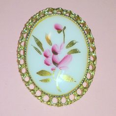 Vintage Hand Painted Pink Flower Glass Cabochon by BorrowedTimes